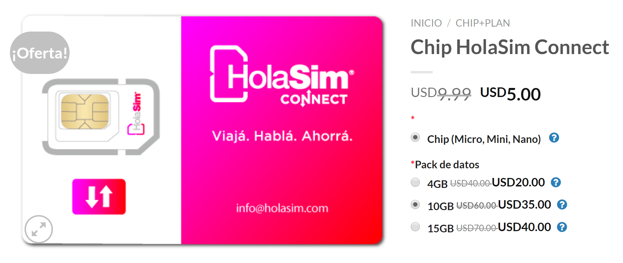 holasim nuevo precio chip