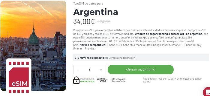 tarjeta esim para argentina ser viajera